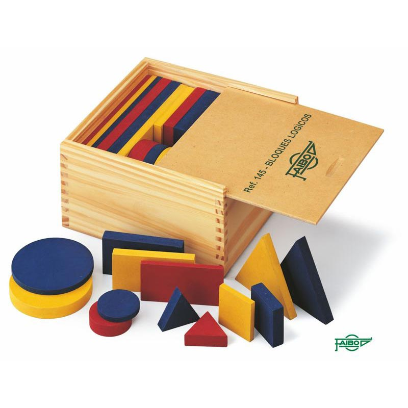 SET OF PRESSED WOODEN LOGICAL BLOCKS