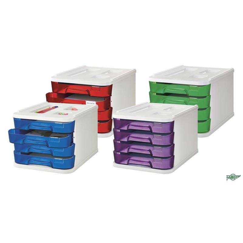 BOX 4 DRAWERS TRANSPARENT COLOURS