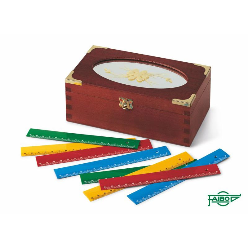 SCHOOL RULERS IN WOODEN BOX